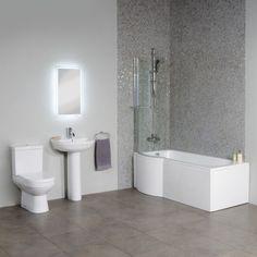 £388.95 Dee Left Hand P Shape Shower Bath Suite