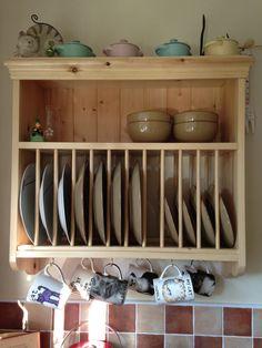 Unidad de pared de la cocina de pino sólido, ganchos para la parrilla de placa con estante y Copa