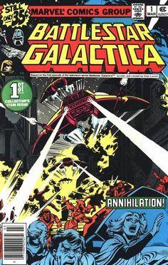 BATTLESTAR GALACTICA 1. DAVE COCKRUM COVER, BRONZE AGE MARVEL COMICS