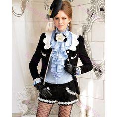 Veste femme en drap de laine noir col U dentelle blanche boutonné