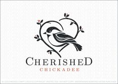 Logo for sale: Clean and modern black-capped chickadee bird perched on a heart-shaped tree branch. The cute bird is elegantly designed with clean lines that create a stylized bird logo design.