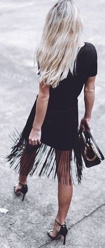 #september #trending #outfits | Fringed Little Black Dress