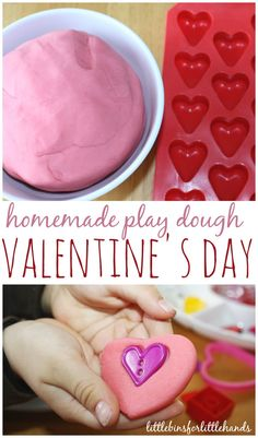 Quick and easy Valentines play dough for sensory play and creative play. Explore simple homemade Valentines play dough with this invitation to play.