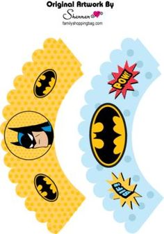 Cupcake Wrapper, Batman, Favor Box - Free Printable Ideas from Family Shoppingbag.com