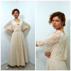 Lace Dress Accordion Pleated Blush Peach Chantilly Lace Cape Wedding Bridal gown Vintage 60s S by KMalinkaVintage on Etsy