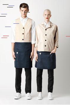 lady-and-butler-marlon-vest-wit-kelner-uniform. Cafe Uniform, Waiter Uniform, Spa Uniform, Hotel Uniform, Men In Uniform, Uniform Ideas, Staff Uniforms, Work Uniforms, Kellner Uniform