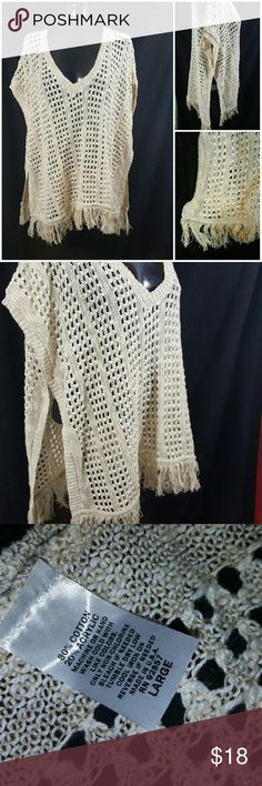 Boho knit Shawl/beach cover up High slit Shawl with sleeve holes and fringe. So so so cute. Goes great with shorts or a bikini Tops