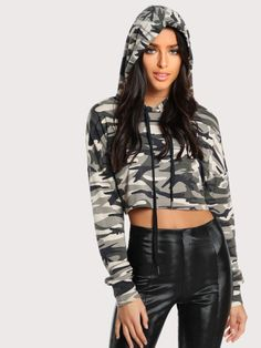 7f22a83ff9e8df Camo Print Raw Hem Crop Hoodie -SheIn(Sheinside) Middle School Fashion