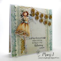 Believe~ Stamps: Uptown Girl, Faith the Fairy by Stamping Bella; Paper: Remember Journal Paper, Sweetest Thing Bluebell Collection, MME & Lost and Found 2 Collection; Dies: Party Lanterns, Memory Box; Glamour Dust; Lace