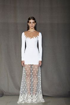 FAB412 white stretch cady dress with embroidered lace skirt.  Alessandra rich
