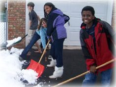 Have your kids help you shovel snow for an elderly neighbor or for someone who is sick.