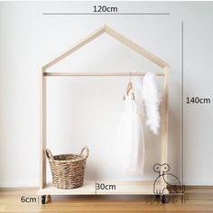 Beautiful Handmade Stand House Shape Nordic Style Wooden Floor Hanger Mini Kids Clothes Rack Garment Dress Up Storage Shelf. Baby Bedroom, Girls Bedroom, Dress Up Storage, Kids Clothing Rack, Kids Dress Up, Little Girl Dress Up, Toddler Rooms, Wooden Hangers, Big Girl Rooms