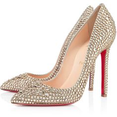 Christian Louboutin Pigalle Strass (222.575 RUB) ❤ liked on Polyvore featuring shoes, pumps, heels, christian louboutin, sapatos, gold, new arrivals, golden shoes, high heel pumps and heels & pumps