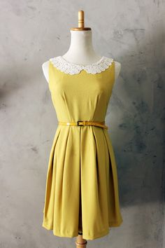 ETIQUETTE in Mustard - Vintage Inspired Dress in Mustard Yellow with Full Pleated Skirt, Hidden Side Pockets & White Lace Collars - S, M, L. $65.00, via Etsy.