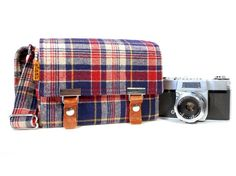 this plaid camera bag would be good for guys, too.