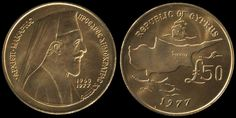 """with """"Archbishop Makarios"""" & """"Map of Cyprus"""" in gold in original red case. Commemorative Coins, Cyprus, Auction, Stamp, Awards, Red, Coins, Stamps"""