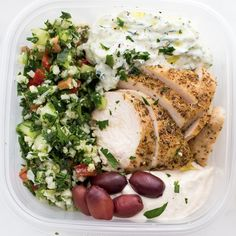 Take some time to set yourself up for success this week by doing a little meal prep. Whether you want to pack this Greek chicken meal prep dish up for lunch or have a no-hassle dinner, it's a delicious Mediterranean chicken recipe to have on hand. Olive Recipes, Rib Recipes, Bean Recipes, Greek Recipes, Cooker Recipes, Turkey Recipes, Crockpot Recipes, Mediterranean Recipes, Mediterranean Chicken