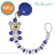 Schnullerkette mit Namen Blauer Häkel-Bär 3