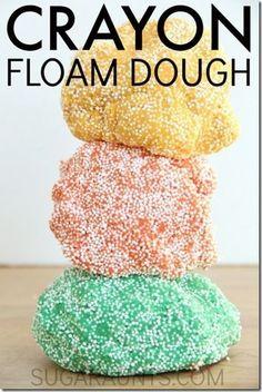 Crayon Floam Dough Recipe - such a fun play dough alternative for sensory play…
