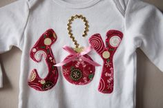 Christmas Joy long sleeve shirt red and pink by bootieboutiq, $13.50