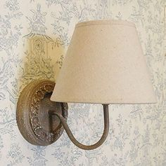 French country shabby chic style circular wall taupe linen shade