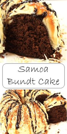 Samoa like cookie flavor, easy bundt cake to make. Cupcakes, Cupcake Cakes, Baking Recipes, Cake Recipes, Bread Recipes, Just Desserts, Delicious Desserts, Yummy Treats, Sweet Treats