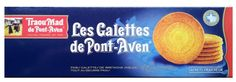"""GALETTES DE PONT-AVEN $5.00 These thin, crispy, buttery galettes are a widely acclaimed gem from Brittany. They are delicious with coffee, tea, fruit salad, ice cream, or as a snack of their own.  Traou Mad, which means """"good things"""" in Breton, was founded in 1920 in the little town of Pont-Aven (made famous by the painter Gauguin). The traditional biscuit factory has been has been a Breton emblem of taste and quality for nearly a century.  100 grams / 3.5 oz French Cookies, French Food, Galette, Grocery Store, Granola, Fruit Salad, How To Introduce Yourself, Brittany, Biscuits"""
