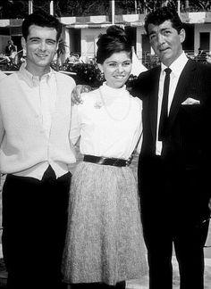 Dean Martin and his 2 oldest children, Claudia and Craig visiting dad on the pool set for his movie 'Who's Been Sleeping In My Bed' (1963) - Paramount Studios, Hollywood.