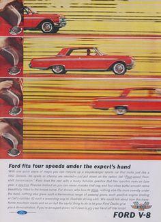 "1962 Ford V-8 Galaxie Car Ad ""Four Speeds"" Vintage Advertising Print Garage…"