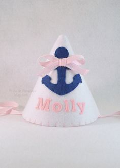 Pink Navy Sailor Anchor Nautical Felt Party by pixieandpenelope Unique Birthday Party Ideas, First Birthday Parties, First Birthdays, Mermaid Birthday, Girl Birthday, Navy Sailor, Nautical Party, Party Hats, Party Planning