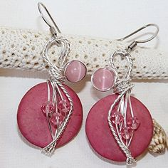 Pink Swarovski Crystal and Coconut Shell Wire Wrapped Earrings *** Click image to review more details.