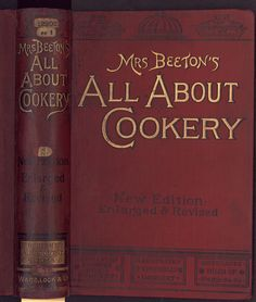 "Beeton's ""All About It"" books. All about cookery by Mrs Isabella Beeton. New edition. Ward, Lock & Co., 1890. The British Library copy is at shelf mark 12202ee1/3 The illustration shows the upper and spine, blocked in gold and in black on ungrained smooth red cloth."