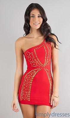 Short Form-Fitting One Shoulder Dress at SimplyDresses.com