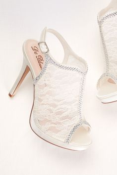 The perfect wedding shoe. Floral inspired lace and modern crystals.   Lace Slingback Platform Sandal  at David's Bridal