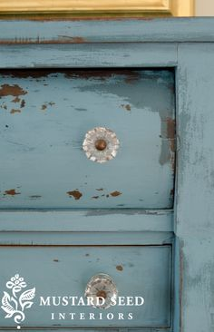 Miss Mustard Seed's milk paint - two shades and vaseline resist