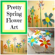 Giant Flowers Made w/ Collage Paper