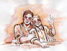 """[Image: Bucky Barnes and pre-serum Steve Rogers sitting side by side; they're both flushed and smiling.]  katiecrenshaw:  """" Another re-post while I work on commissions :D  Bucky and tipsy Steve  """""""