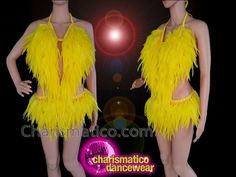 CHARISMATICO Yellow feather sequinned diva show girl burlesque show time leotard