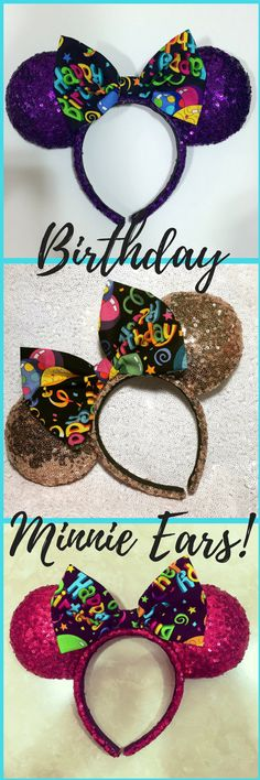 Spending your birthday at Disney?! Well then you need this super cute Birthday Minnie ears for your special day from Themousecraftyshop. #sequinminnieears #birthdayminnieears #mickeyears #disneyworldbirthday #disneybirthdayparty #etsyshop #promotion #shopsmallbusiness