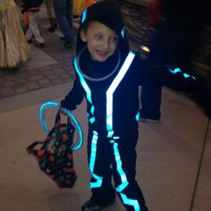 TRON costume DIY  Reflective tape on a black sweatsuit! Reusable & SO safe for Halloween!