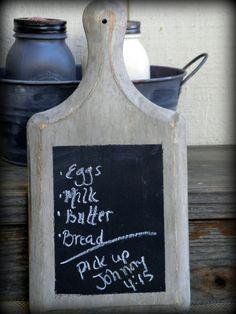 Farmhouse Rustic Wooden Primitive Style chalkboard memo wood cutting board. $18.00, via Etsy.