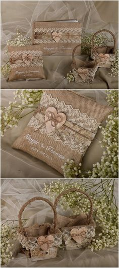 Rustic country burlap wedding guest book, flower girl basket and ring pillow @4LOVEPolkaDots