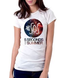 5 Seconds Of Summer Galaxy - Women - Shirt - Clothing - White, Black, Gray - @Dianov93