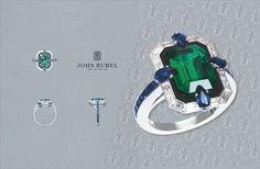 Liberty ring. Emerald, white gold, sapphire