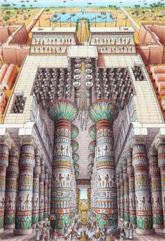 Stephen Biesty – Illustrator – Inside-out Views_Temple of Amun-Ra Stephen Biesty – Illustrator – Inside-out Views_Temple van Amun-Ra Egyptian Temple, Ancient Egyptian Art, Ancient Aliens, Ancient History, Egyptian Mythology, Egyptian Goddess, European History, Ancient Greece, American History
