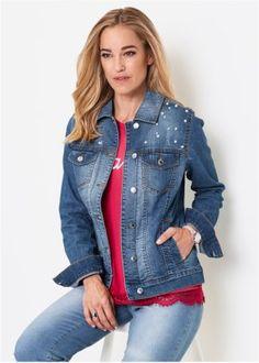 663628fe4b7 Женская верхняя одежда  коллекция в магазине bonprix. Куртка джинсовая с  бусинами ...