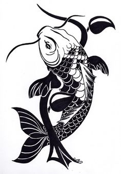 Tribal Koi Fish Tattoo Design by Nikolai-Bartolf