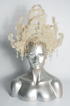 READYTOSHIP  Burning Man Bridal White Lace hat by StraightLacedSF