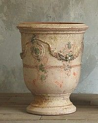 Large French Unglazed Anduze Garden Urn Pots Vielle Antique Finish Pair-antique,patina, planter, plants, design, provence