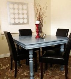 How to repaint a table. I bought almost this exact table at a flea market! Glazing Furniture, Kitchen Furniture, Painted Furniture, Building Furniture, Painted Floors, Recycled Furniture, Oak Table, Dining Room Table, Porch Table